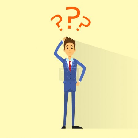 Illustration for Business man with question marks concept - Royalty Free Image