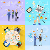 Business people group working set