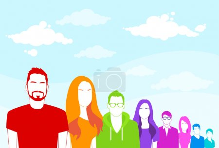 Illustration for Group of People Colorful Silhouette in Line Diverse Ethnic Flat Vector illustration - Royalty Free Image