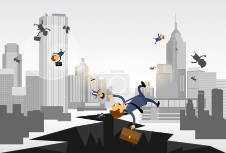 Illustration for Business People Fall Down in Hole. Street Financial Crisis Concept - Royalty Free Image