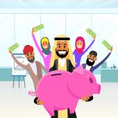 Arab BusinessPeople Holding Piggy Bank