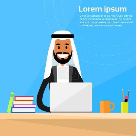 Arabic Businessman Sitting at Office Desk