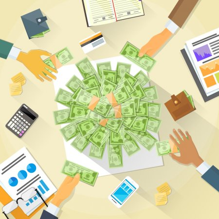 businessPeople Group and Money on Desk