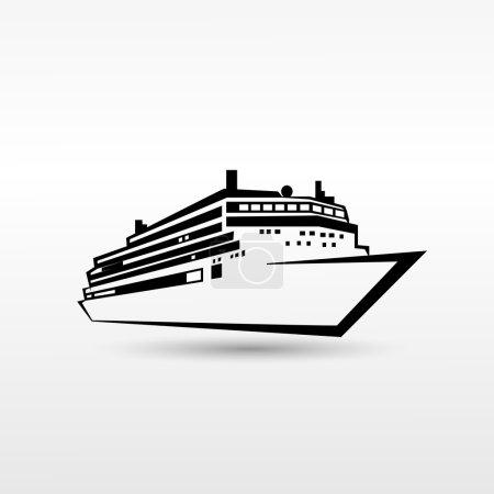 Illustration for Cruise Ship Logo ,Black, Icon Vector Illustration - Royalty Free Image