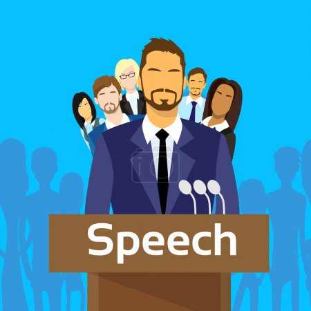 Illustration for Speech Tribune for Businessmen with Team of People, Flat Illustration - Royalty Free Image
