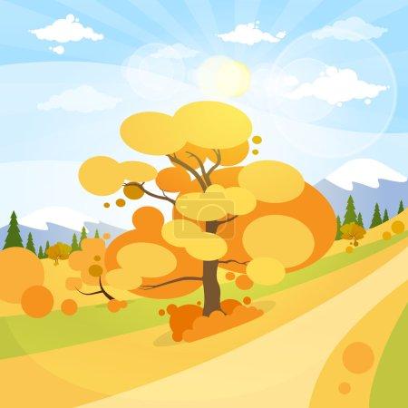 Illustration pour Paysage d'automne avec montagnes, forêt, route, ciel bleu avec soleil, arbres, dessin plat Illustration vectorielle - image libre de droit