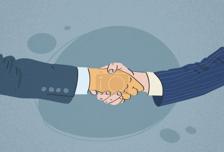 Illustration for Handshake Business People Hands, Shake Flat ,Retro, Vector Illustration - Royalty Free Image