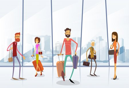 Illustration for Traveler People at Airport Hall ,Departure Terminal ,Travel Baggage Bags, Suitcase, Passenger Check In Luggage ,Flat Vector Illustration - Royalty Free Image