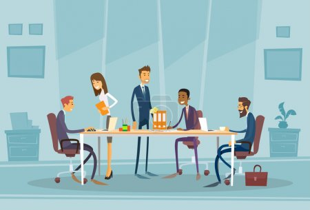 Illustration for Business People at Meeting in Office, Flat Vector Illustration - Royalty Free Image