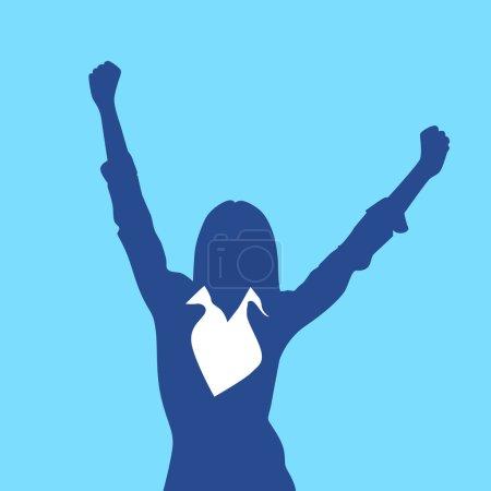 Illustration pour Illustration vectorielle de silhouette de femme d'affaires excitée - image libre de droit