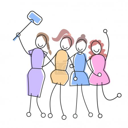 Group Of Girls Taking Selfie With Stick Social Net...