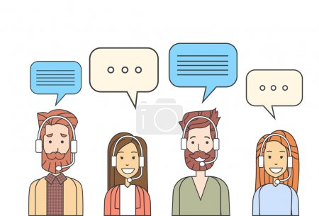 Illustration pour Call Center Operators Team, Homme Femme Service Clientèle Groupe Chat Bulle Internet Communication Ligne mince Illustration vectorielle - image libre de droit