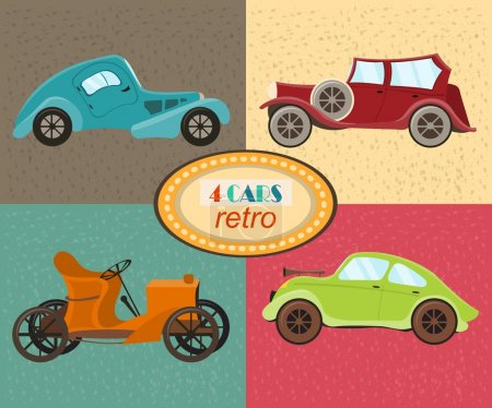 Vector set of four retro cars, Multicolored retro cars