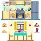 Set of kitchen and dining room interior with utensils appliances and furniture