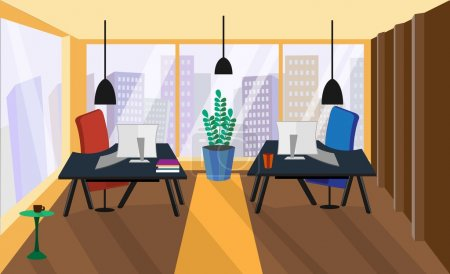 Illustration for Office interior. Office room. Vector office interior in flat style. Armchairs and tables, computer and phone, view from the window on megapolis, skyscrapers. Business concept - Royalty Free Image