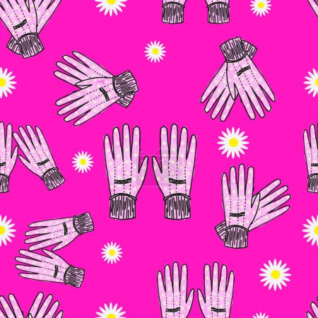 Seamless Hand-Drawn Gardening Gloves Background