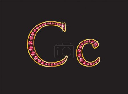 Cc Ruby Jeweled Font with Gold Channels