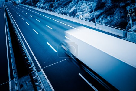 Photo for Truck on the freeway with clean background. - Royalty Free Image