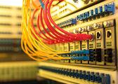 Optikai kábelek és Utp hálózati kábelek csatlakoztatott hub kikötők