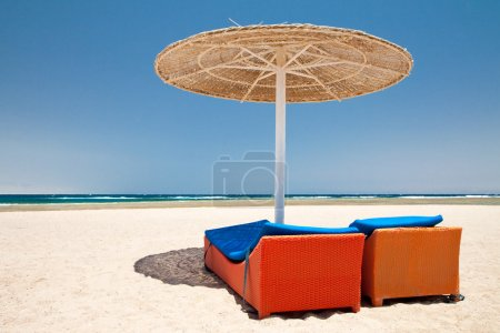 Photo for Parasol and sun loungers on the beach - Royalty Free Image