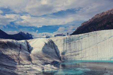 View of hiker in Exit Glacier