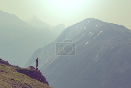 Hiking man in mountains