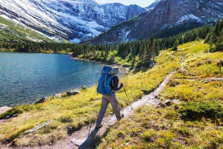 Photo pour Randonneur dans le parc national des Glaciers, Montana - image libre de droit