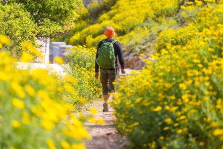 Man backpacker hiking