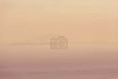 Mountains in mist silhouette