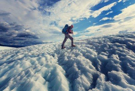 Hiker on glacier in St. Elias National Park