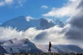Hiker on Mt Rainier road