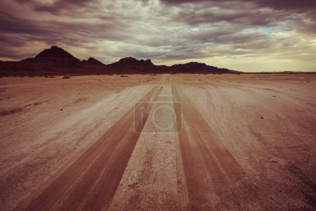 road in Bonneville salt desert
