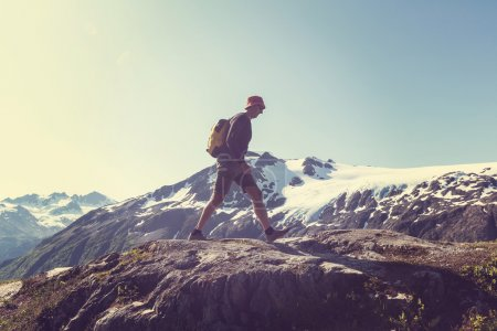 Hiker in Exit Glacier