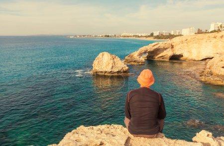 Man on beautiful Cyprus coast