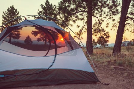 Tent in forest in mountains