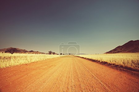 Namibia landscape and sand road at sunny day...