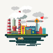Pollution of modern industry - vector illustrations