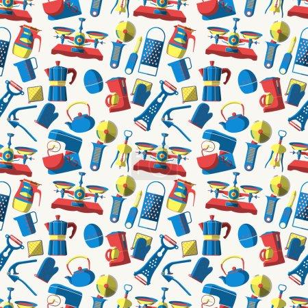 Vector kitchen supplies logo - Seamless