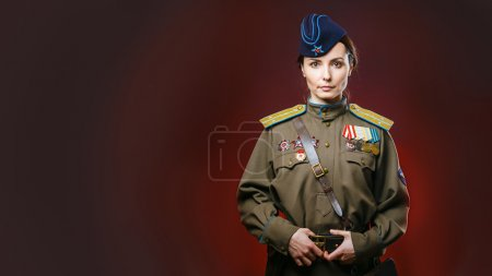 Historical reenactment of soviet union army by pretty woman