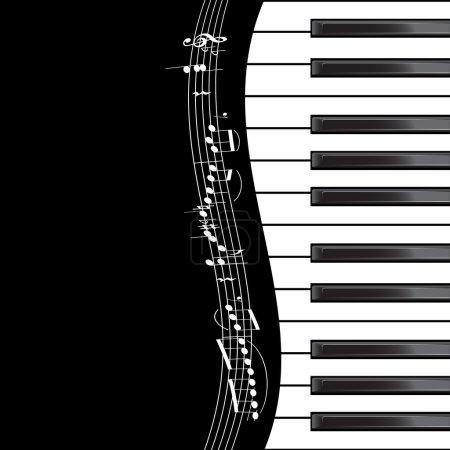 Illustration pour Modèle avec clavier piano avec des notes sur fond noir. Illustration vectorielle - image libre de droit