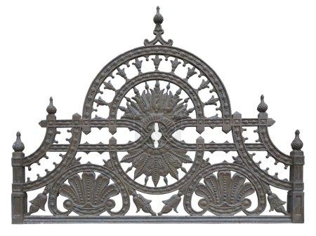 Photo for Old forged metallic decorative lattice fence isolated over white background - Royalty Free Image