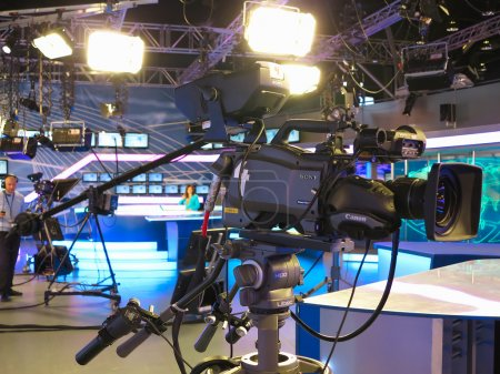 "05.04.2015, MOLDOVA, ""Publika TV"" NEWS studio with light equipme"