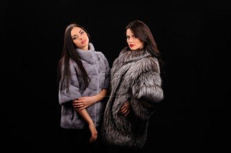 Beauty Fashion Model Girls in Blue Mink Fur Coat