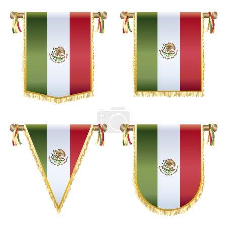 Ilustración de Conjunto de banderines bandera mexicana, 4 diseños aislados en blanco - Imagen libre de derechos