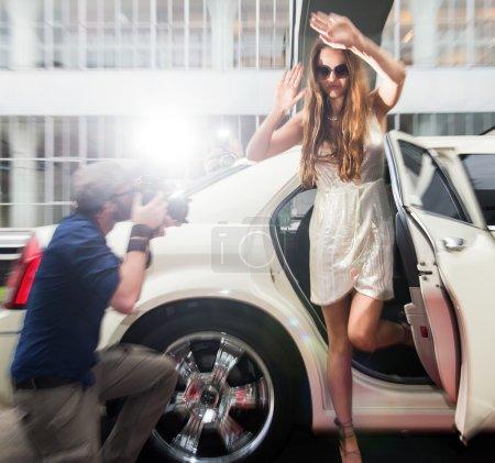 Celebrity fleeing for paparazzi