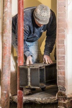 Installing large steel beam