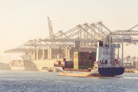 Photo for Huge container ships, coasters, supply vessels being loaded and unloaded by the huge overhead cranes of a busy transhipment harbor during a hazy afternoon - Royalty Free Image