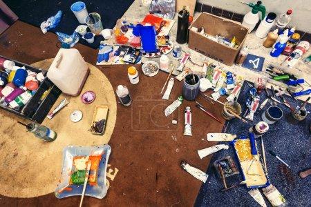 Messy artist's studio