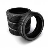 3D pneumatiky na bílém pozadí