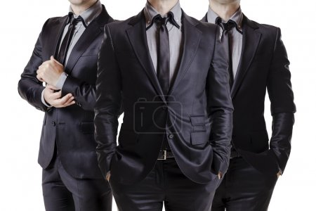 Photo for Close up image of three business men in black suit - Royalty Free Image